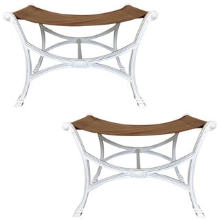 Pair of Maison Jansen Style Curule Benches For Sale