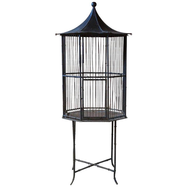 Chinoiserie Faux Bamboo Pagoda Standing Bird Cage - Image 1 of 9