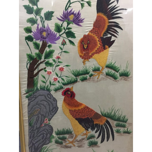 Asian Vintage Mid-Century Chinese Embroidered Rooster and Bird Panels - A Pair For Sale - Image 3 of 11
