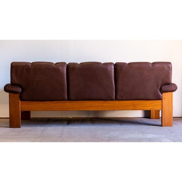 1960s Vintage Danish Modern Scandinavian Teak & Leather Sofa | Chairish