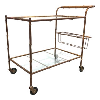 Vintage Faux Bamboo Boho Chic Gilt Bar Cart W Glass Shelves For Sale