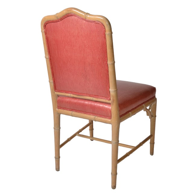 Faux Bamboo Chinese Chippendale Vinyl Chairs - Set of 8 - Image 6 of 10