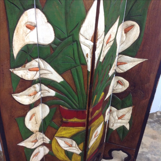 Diego Rivera Style Carved Relief 4 Panel Screen - Image 3 of 5