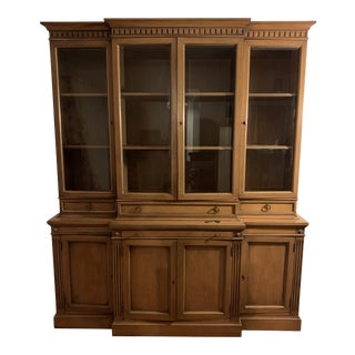 French Karges Pecan Wood China Cabinet For Sale