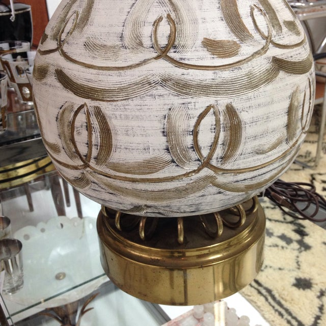 Hanpainted Mid-Century Lamp - Image 5 of 6