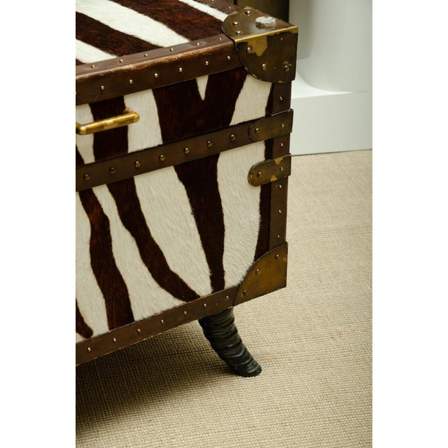 Hollywood Regency French Trunk/Cocktail Table Covered in Zebra For Sale - Image 3 of 11