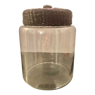 Clear Glass Storage Jar With Glass and Woven Basket Lid For Sale
