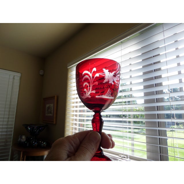 Red Bohemian Ruby Cut to Clear Wine With Etched Design on Glasses - Set of 4 For Sale - Image 8 of 9