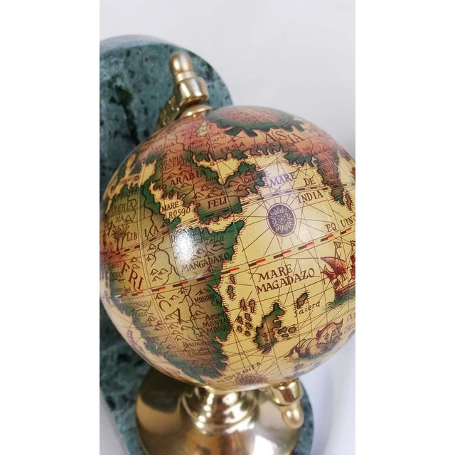 Old World Globe Bookends on Solid Green Marble - A Pair For Sale - Image 5 of 7