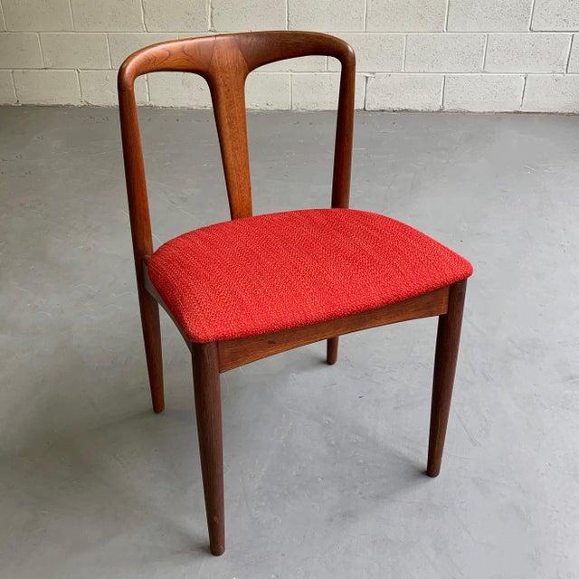 "Red Vintage Mid Century Danish Modern Teak ""Juliane"" Chair For Sale - Image 8 of 10"