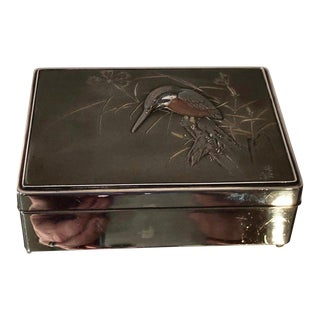 Antique Art Deco Japanese Sterling Silver Hummingbird Box C. 1930's For Sale