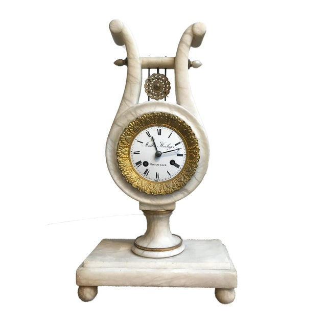 Antique French Neoclassical White Marble and Mercury Gilded Bronze Lyre Pendulum Clock For Sale - Image 12 of 12