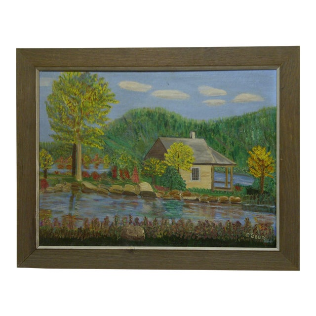 "F. Cobler ""Cabin by the Water"" Original Framed Painting on Board For Sale"