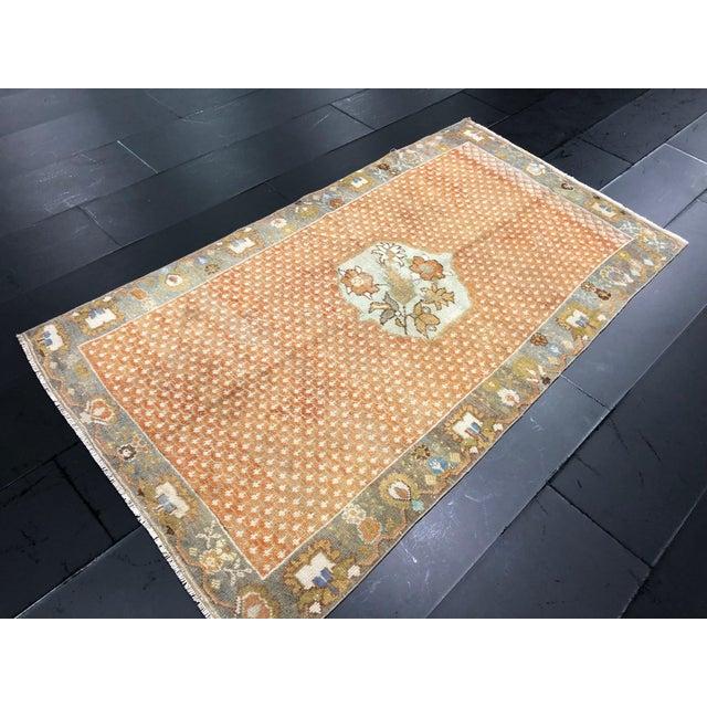 1960s Orange Floral Antique Rug - 3′10″ × 7′1″ For Sale - Image 5 of 11