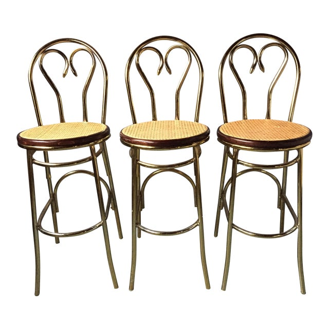 Gold Chrome Bar Stools In The Style of Michael Thonet- Set of 3 - Image 1 of 11