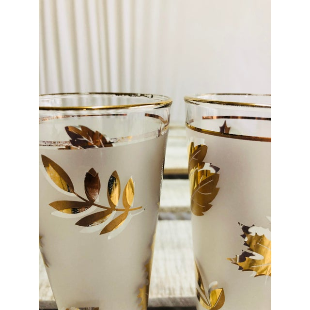 Vintage Frosted Gold Leaf Pilsner Glasses - A Pair For Sale - Image 5 of 7