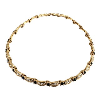 Swarovski Crystal and Faceted Onyx Crystal Gold Choker For Sale