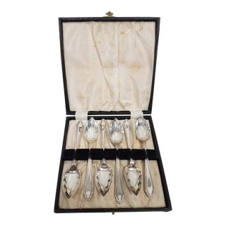 Antique English Grapefruit Spoons - Set of 7 For Sale