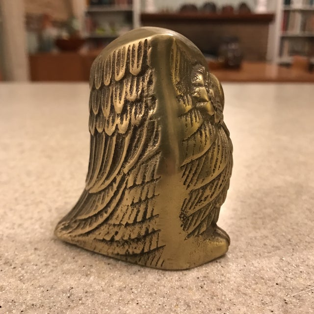 Vintage Brass Owl Paperweight For Sale - Image 4 of 8