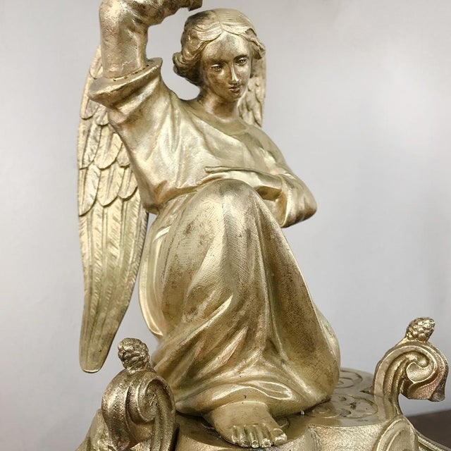 Pair 19th Century Bronze Candlesticks With Angels ~ Napoleon III Period For Sale - Image 4 of 13