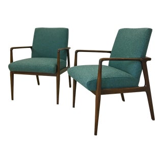 Pair of Upholstered Lounge Chairs for Stow & Davis For Sale