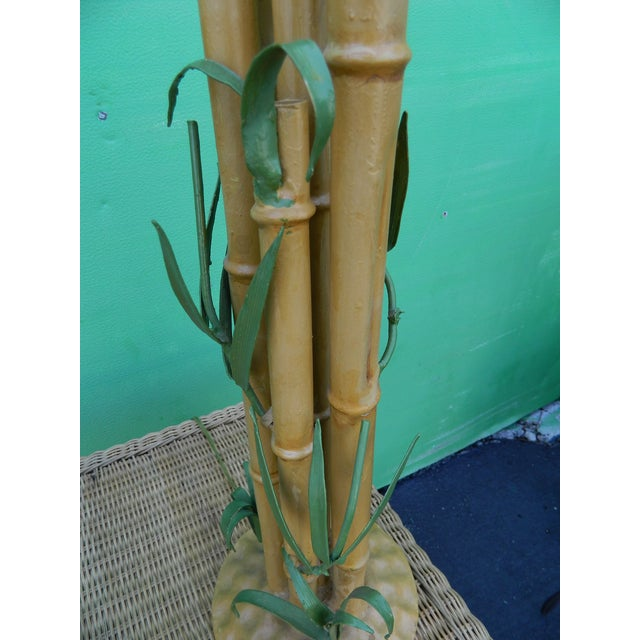 Vintage Metal Faux Bamboo Lamps - A Pair - Image 6 of 9