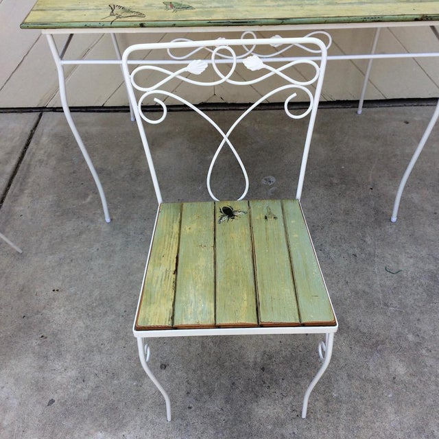 Woodard Furniture Co. Vintage Woodard Metal and Bead Board Patio Set - Table and 4 Chairs For Sale - Image 4 of 13