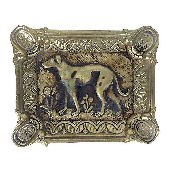 French Brass Ashtray with Dog - Image 1 of 2