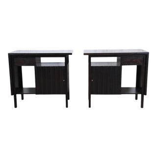 John Widdicomb Mid-Century Modern Ebonized Nightstands, Newly Refinished For Sale