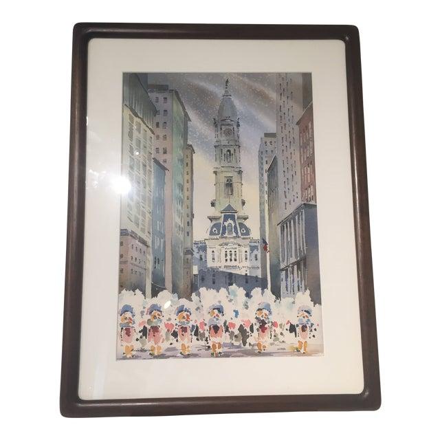 Vintage Mid-Century Philadelphia Watercolor Framed Painting For Sale