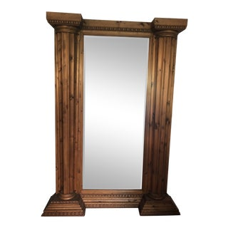 Handcrafted Wood Beveled Full-Length Mirror For Sale