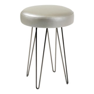 Silver Grey Leather Hairpin Counter Stool For Sale