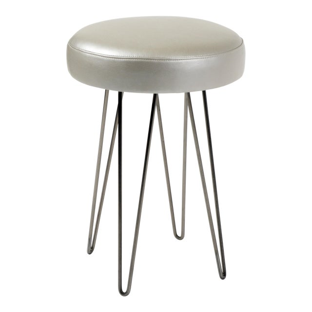 Cool Silver Grey Leather Hairpin Counter Stool Pdpeps Interior Chair Design Pdpepsorg