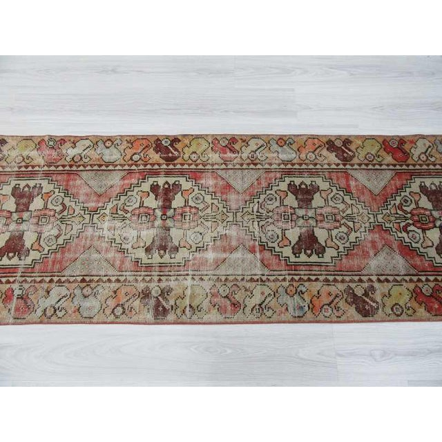 "Vintage Turkish Distressed Runner Rug - 2'5"" x 8'8"" - Image 4 of 6"