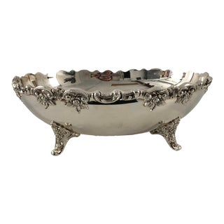 Victorian Style Rose Pattern Silver Plate Footed Oval Centerpiece For Sale