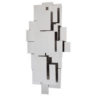 Reggiani Style Polished Steel Wall-Light Sculpture or Sconce For Sale