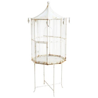 Chinoiserie Faux Bamboo Pagoda Standing Bird Cage For Sale