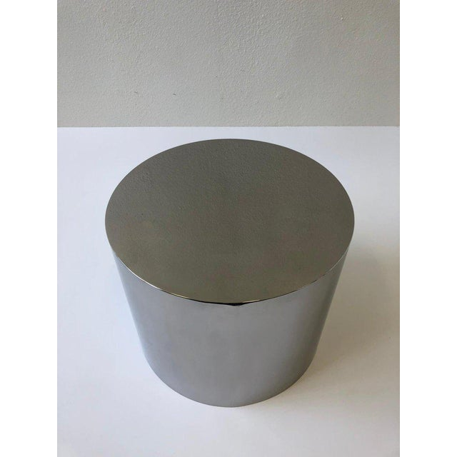 Glass 1980s Polish Stainless Drum Side Table by Brueton For Sale - Image 7 of 9