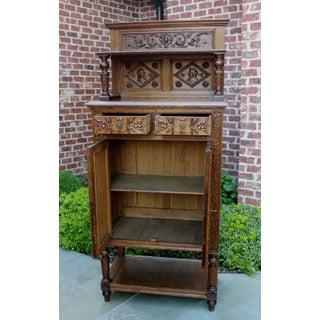Antique French Oak 19th Century Renaissance Revival Gothic Vestry Sacristy Wine Altar Cabinet Bookcase Preview