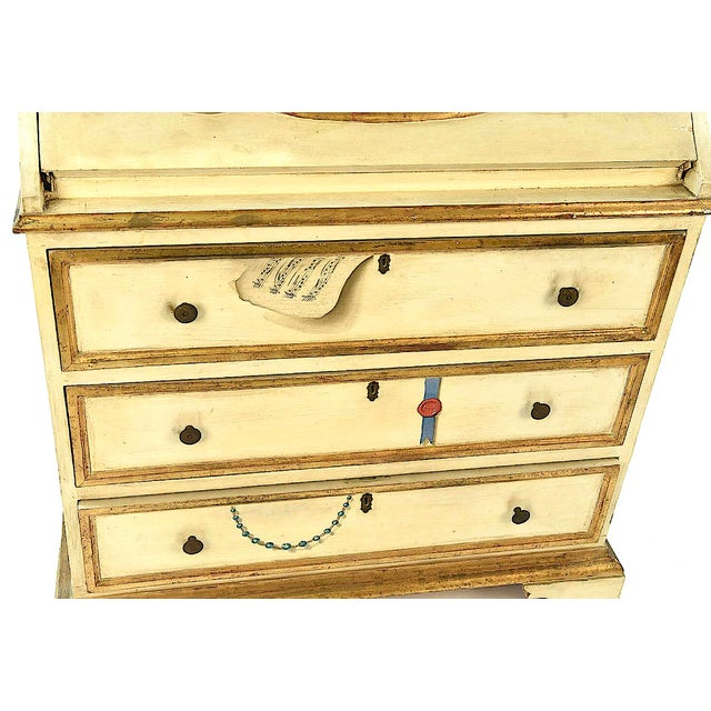 20th Century French Maison Jansen Hand Painted Secretary Desk For Sale - Image 6 of 12