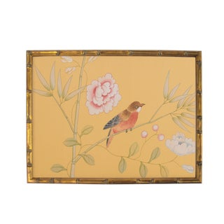 Red-Breasted Bird on Bamboo Branch Painting For Sale