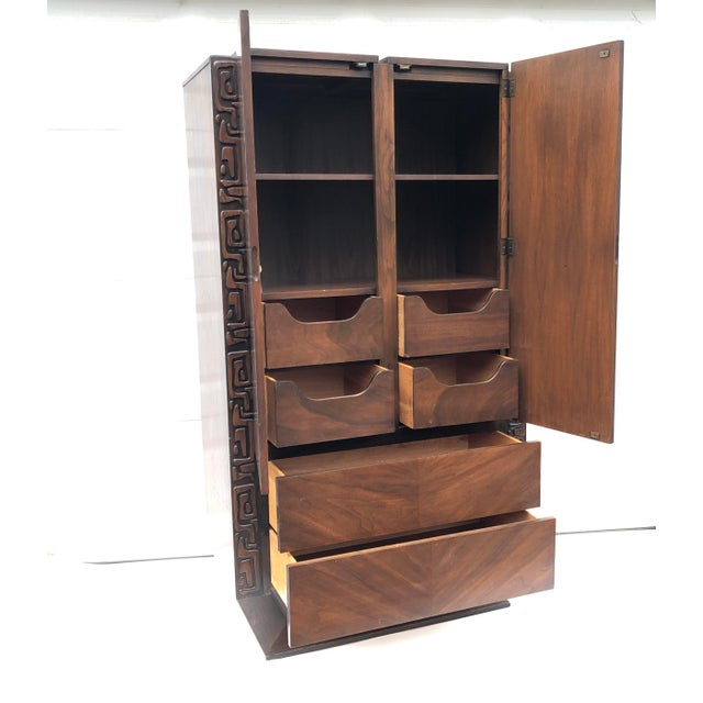 Brutalist Tall Mid-Century Witco Style Armoire by United Furniture For Sale - Image 3 of 13