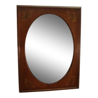 Hitchcock Solid Maple Paint Decorated Framed Mirror For Sale