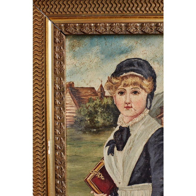 19th Century Folk Art Painting of a Young Girl For Sale - Image 10 of 13