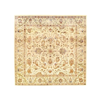 Ivory Fine Square Tabriz Hand Knotted Rug-6'7'' X 6'7'' For Sale