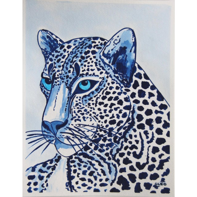 Watercolor Indigo Blue Lion by Cleo Plowden For Sale - Image 7 of 10