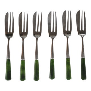 1925 J. Swan & Son English Sterling Caviar Forks With Jade Handle- Set of 6 For Sale