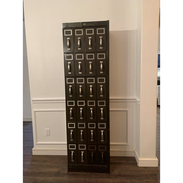 Mid 20th Century Vintage Industrial Filing Cabinet 24 Drawer For Sale - Image 12 of 12