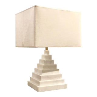 Jonathan Adler for Robert Abbey Co. Modern White Marble Pyramid Table Lamp With Shade For Sale