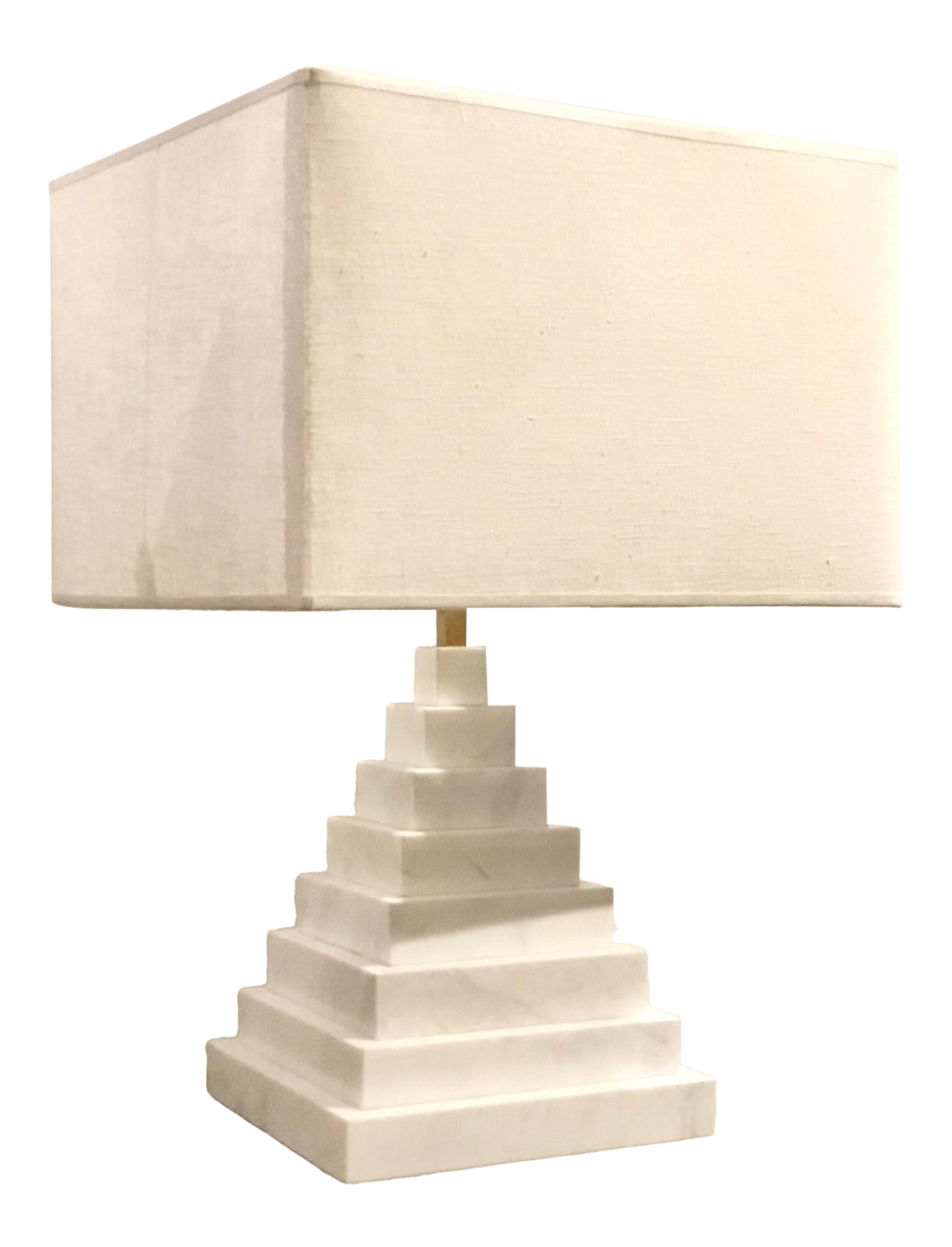 Jonathan Adler For Robert Abbey Co Modern White Marble Pyramid Table Lamp With Shade Chairish